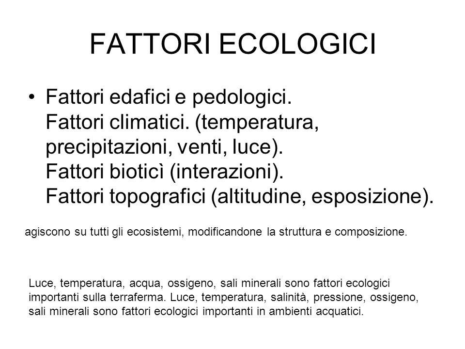 FATTORI ECOLOGICI Fattori edafici e pedologici. Fattori climatici. (temperatura, precipitazioni, venti, luce). Fattori bioticì (interazioni). Fattori