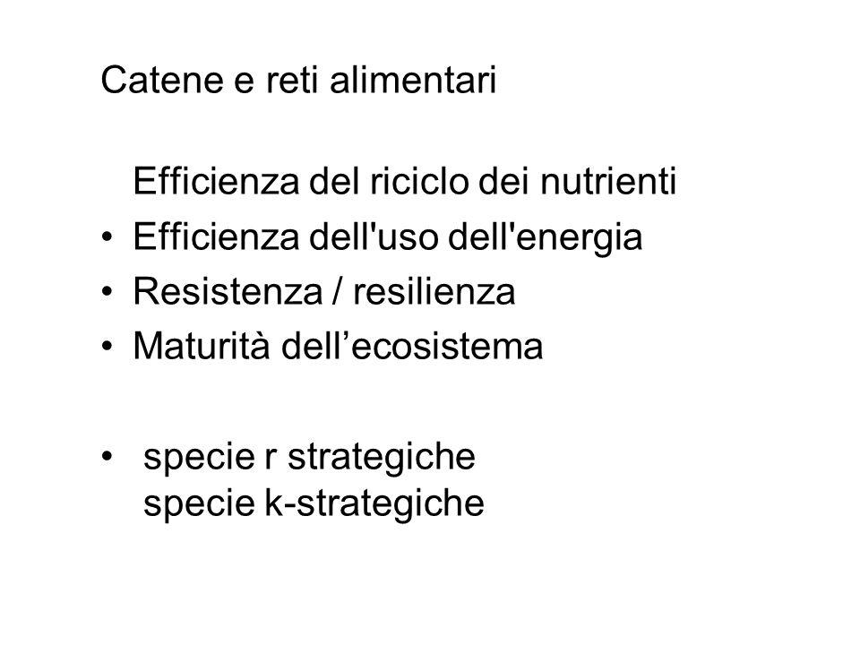 Catene e reti alimentari Efficienza del riciclo dei nutrienti Efficienza dell'uso dell'energia Resistenza / resilienza Maturità dellecosistema specie