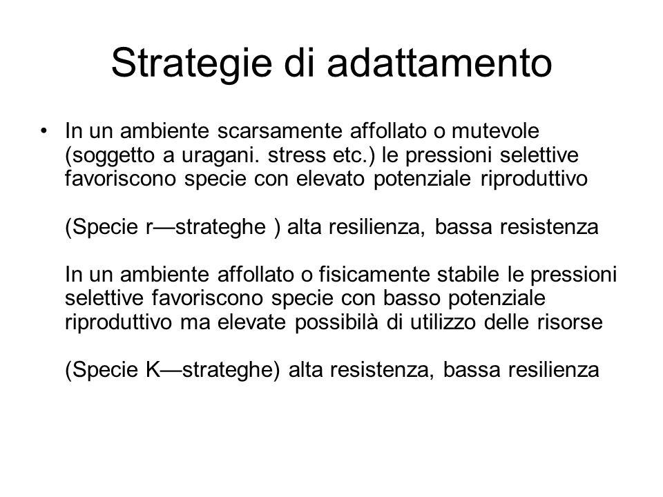 Strategie di adattamento In un ambiente scarsamente affollato o mutevole (soggetto a uragani. stress etc.) le pressioni selettive favoriscono specie c