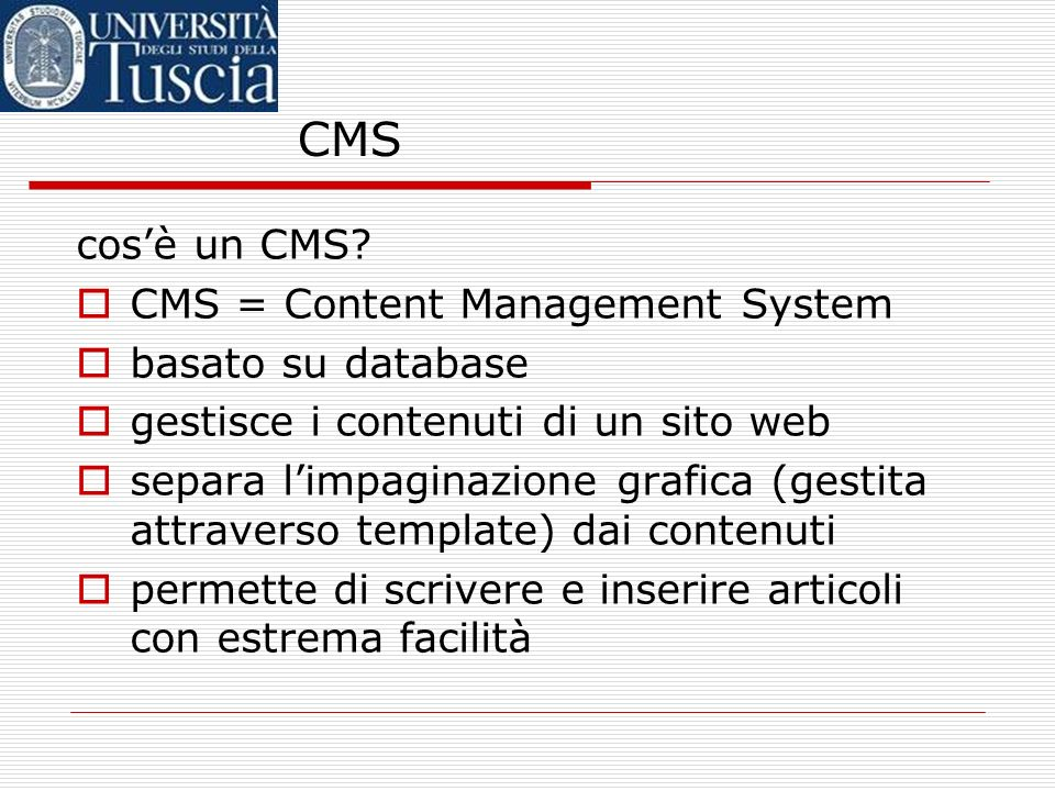 CMS cosè un CMS.