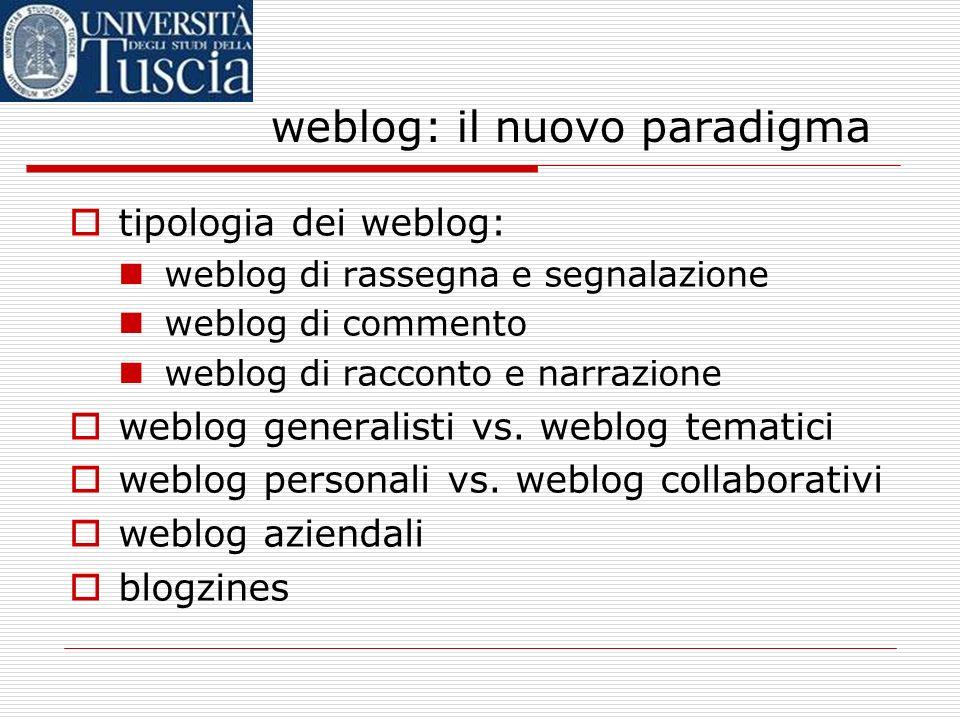 weblog: il nuovo paradigma tipologia dei weblog: weblog di rassegna e segnalazione weblog di commento weblog di racconto e narrazione weblog generalisti vs.