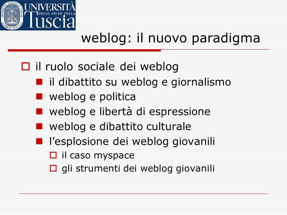 weblog: il nuovo paradigma il ruolo sociale dei weblog il dibattito su weblog e giornalismo weblog e politica weblog e libertà di espressione weblog e dibattito culturale lesplosione dei weblog giovanili il caso myspace gli strumenti dei weblog giovanili