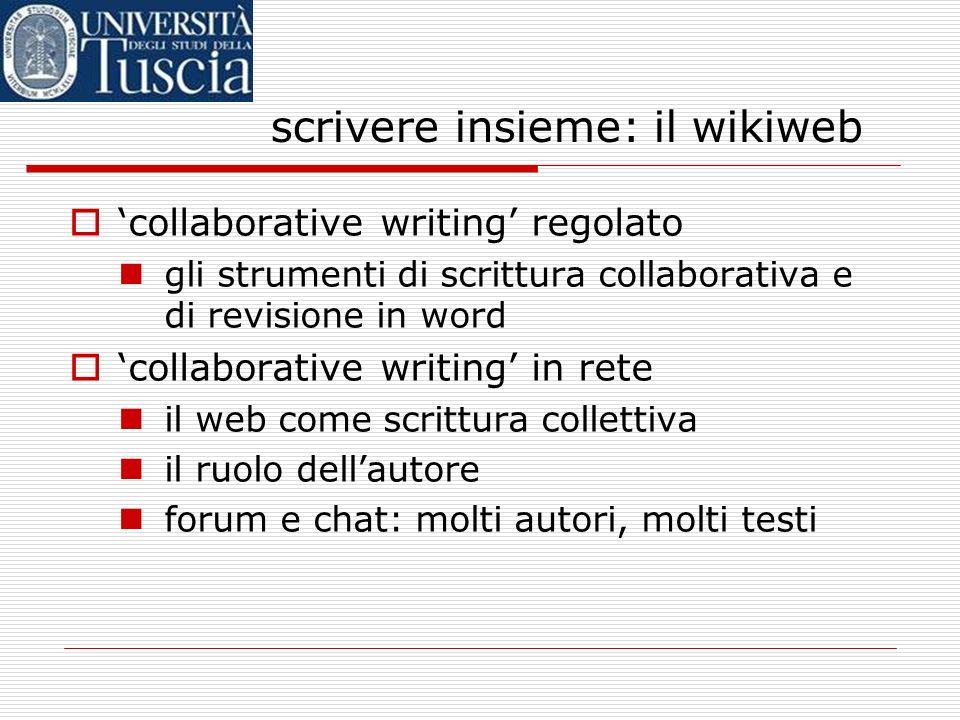 scrivere insieme: il wikiweb collaborative writing regolato gli strumenti di scrittura collaborativa e di revisione in word collaborative writing in rete il web come scrittura collettiva il ruolo dellautore forum e chat: molti autori, molti testi