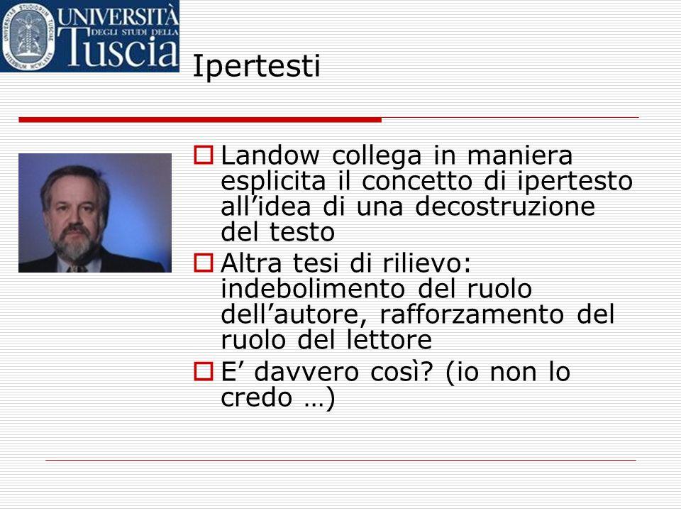 Ipertesti È disponibile, anche in traduzione italiana (Lipertesto. Tecnologie digitali e critica letteraria, a cura di P. Ferri, Milano, Bruno Mondado