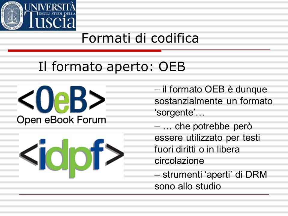 Formati di codifica Il formato aperto: OEB – sviluppato dallOpen E- Book Forum (OEBF), oggi IDPFOpen E- Book Forum – si basa su XML – utilizza metadat