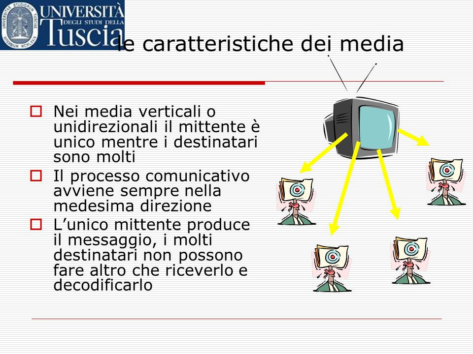 Nei media verticali o unidirezionali il mittente è unico mentre i destinatari sono molti Il processo comunicativo avviene sempre nella medesima direzione Lunico mittente produce il messaggio, i molti destinatari non possono fare altro che riceverlo e decodificarlo le caratteristiche dei media