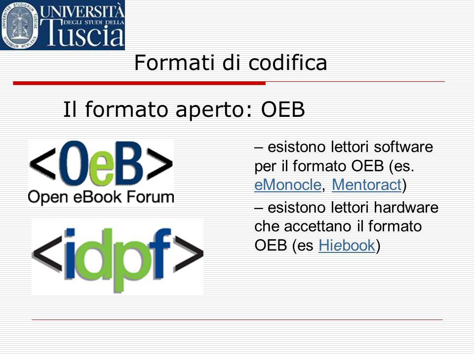 Formati di codifica Il formato aperto: OEB – il formato OEB è dunque sostanzialmente un formato sorgente… – … che potrebbe però essere utilizzato per