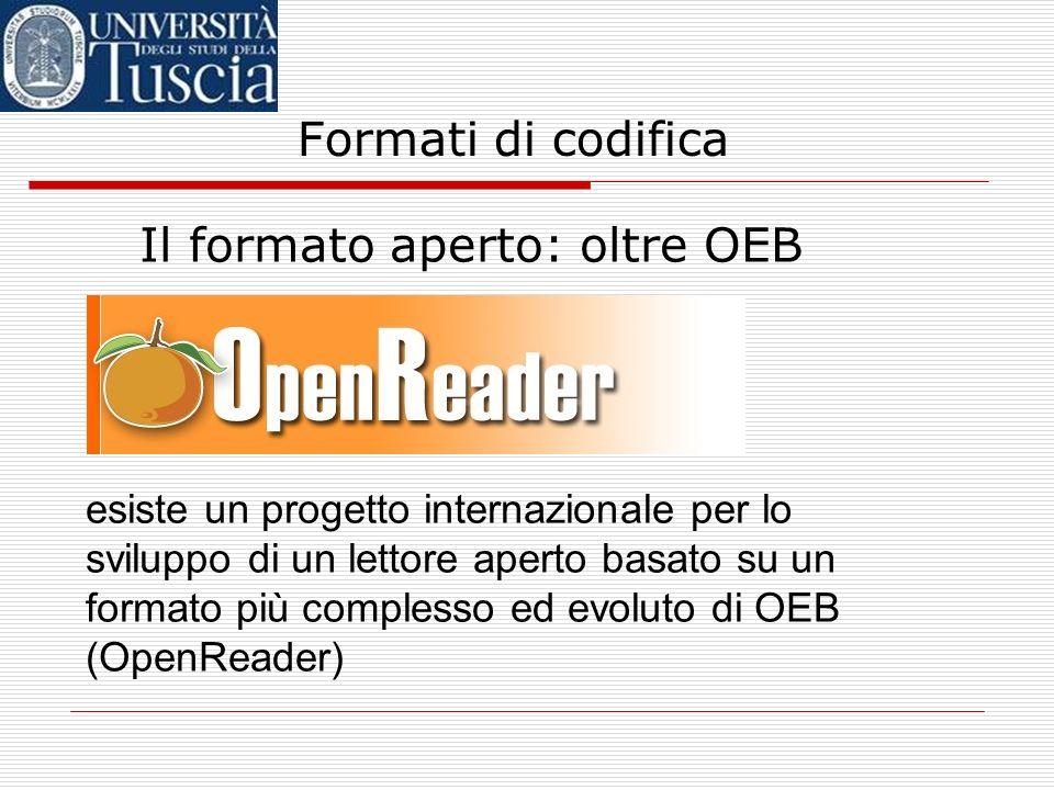Formati di codifica Il formato aperto: OEB – esistono lettori software per il formato OEB (es. eMonocle, Mentoract) eMonocleMentoract – esistono letto