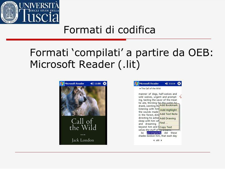 Formati di codifica Formati compilati a partire da OEB: Microsoft Reader (.lit)Microsoft Reader buona leggibilit à e diffusione politica di gestione d