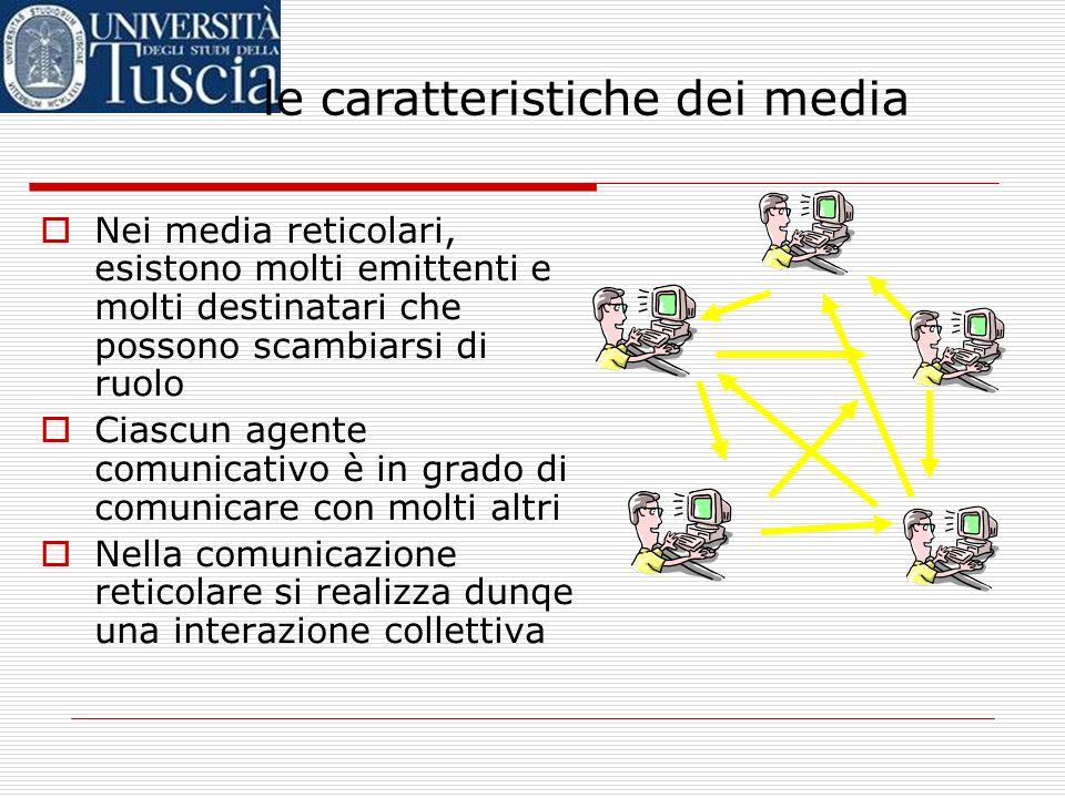 Nei media reticolari, esistono molti emittenti e molti destinatari che possono scambiarsi di ruolo Ciascun agente comunicativo è in grado di comunicare con molti altri Nella comunicazione reticolare si realizza dunqe una interazione collettiva le caratteristiche dei media