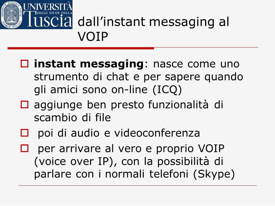 dallinstant messaging al VOIP instant messaging: nasce come uno strumento di chat e per sapere quando gli amici sono on-line (ICQ) aggiunge ben presto funzionalità di scambio di file poi di audio e videoconferenza per arrivare al vero e proprio VOIP (voice over IP), con la possibilità di parlare con i normali telefoni (Skype)