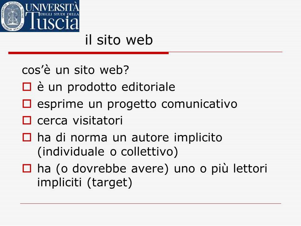 il sito web cosè un sito web? è un prodotto editoriale esprime un progetto comunicativo cerca visitatori ha di norma un autore implicito (individuale