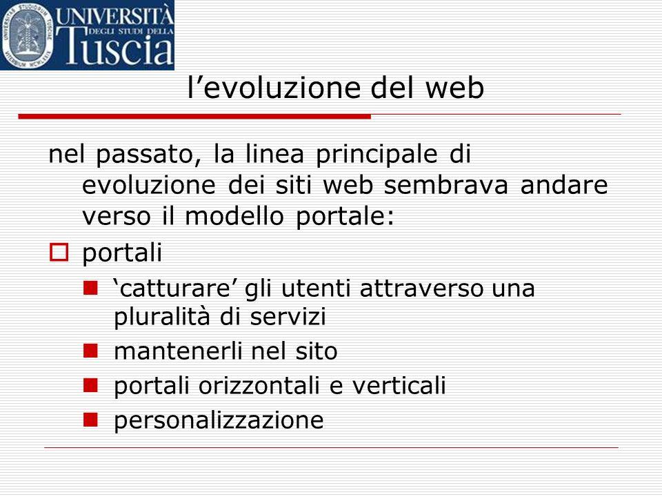 levoluzione del web nel passato, la linea principale di evoluzione dei siti web sembrava andare verso il modello portale: portali catturare gli utenti attraverso una pluralità di servizi mantenerli nel sito portali orizzontali e verticali personalizzazione