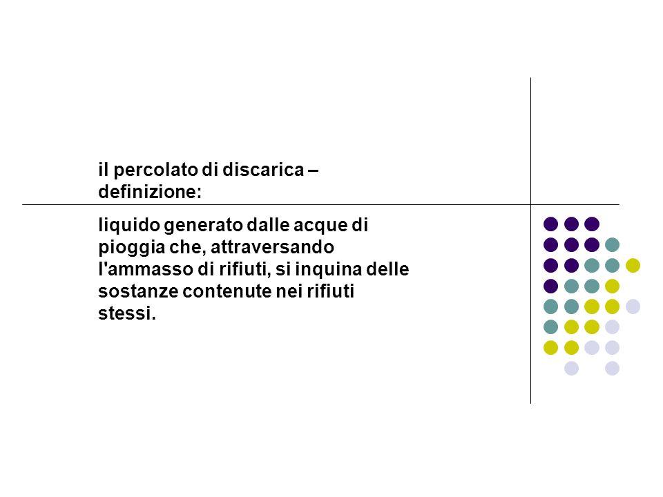 il percolato di discarica – definizione: liquido generato dalle acque di pioggia che, attraversando l'ammasso di rifiuti, si inquina delle sostanze co