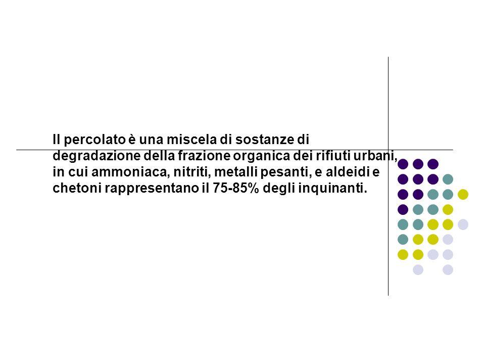Il percolato è una miscela di sostanze di degradazione della frazione organica dei rifiuti urbani, in cui ammoniaca, nitriti, metalli pesanti, e aldei