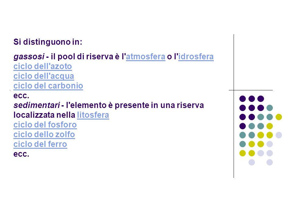 Si distinguono in: gassosi - il pool di riserva è l'atmosfera o l'idrosfera ciclo dell'azoto ciclo dell'acqua ciclo del carbonio ecc. sedimentari - l'