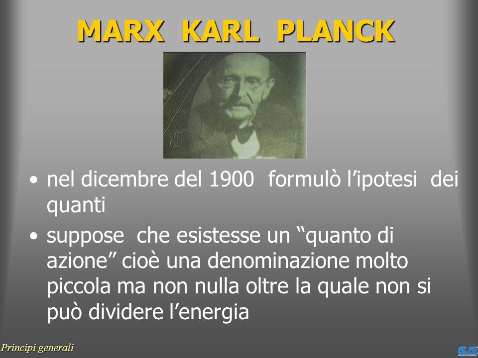 MARX KARL PLANCK nel dicembre del 1900 formulò lipotesi dei quanti suppose che esistesse un quanto di azione cioè una denominazione molto piccola ma n