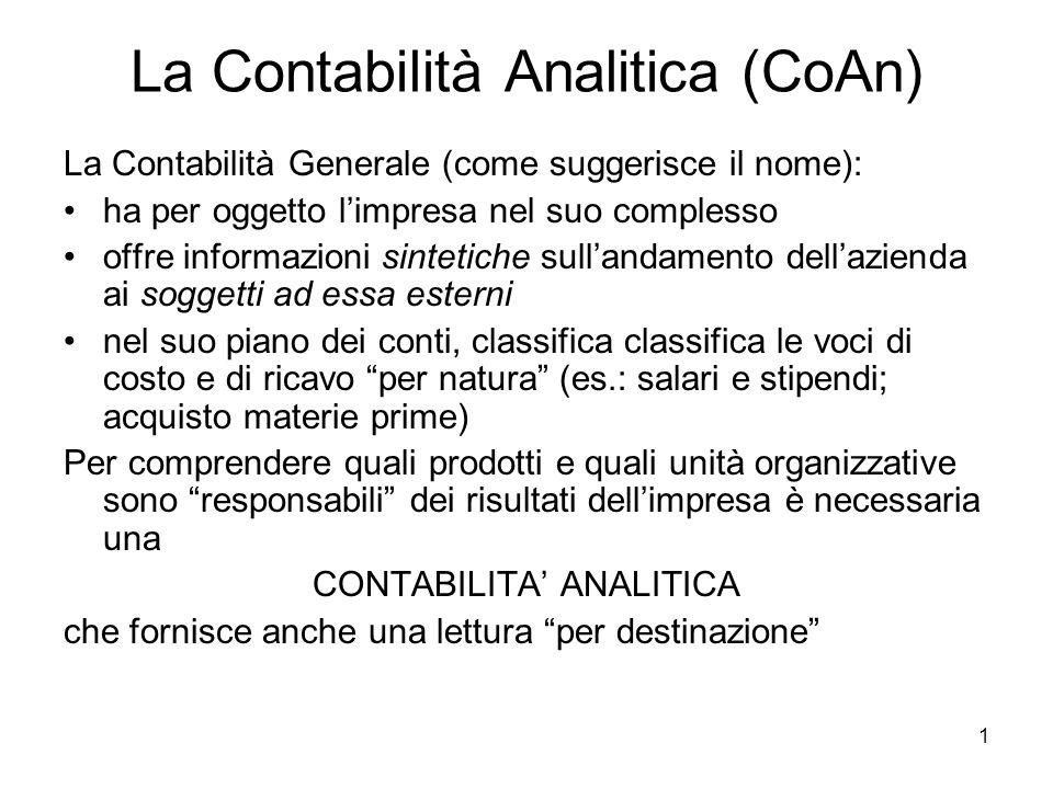 1 La Contabilità Analitica (CoAn) La Contabilità Generale (come suggerisce il nome): ha per oggetto limpresa nel suo complesso offre informazioni sint