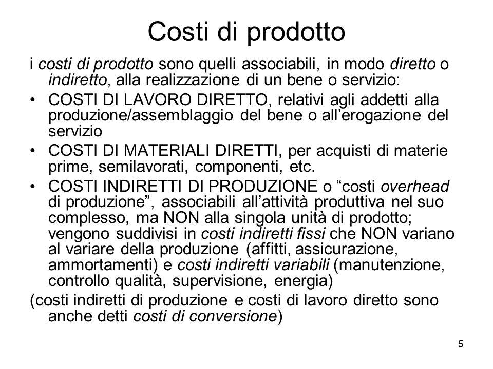 5 Costi di prodotto i costi di prodotto sono quelli associabili, in modo diretto o indiretto, alla realizzazione di un bene o servizio: COSTI DI LAVOR