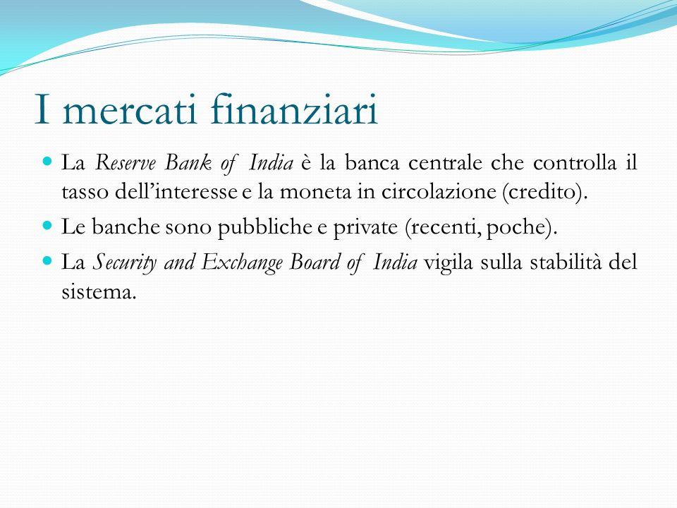 I mercati finanziari La Reserve Bank of India è la banca centrale che controlla il tasso dellinteresse e la moneta in circolazione (credito). Le banch