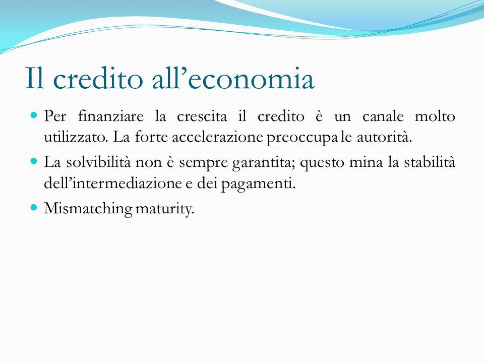 Il credito alleconomia Per finanziare la crescita il credito è un canale molto utilizzato. La forte accelerazione preoccupa le autorità. La solvibilit
