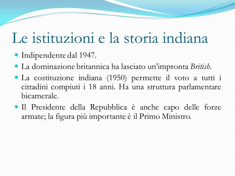 Le istituzioni e la storia indiana Indipendente dal 1947. La dominazione britannica ha lasciato unimpronta British. La costituzione indiana (1950) per
