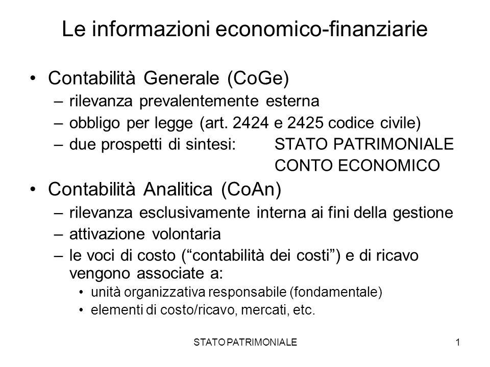 STATO PATRIMONIALE1 Le informazioni economico-finanziarie Contabilità Generale (CoGe) –rilevanza prevalentemente esterna –obbligo per legge (art. 2424