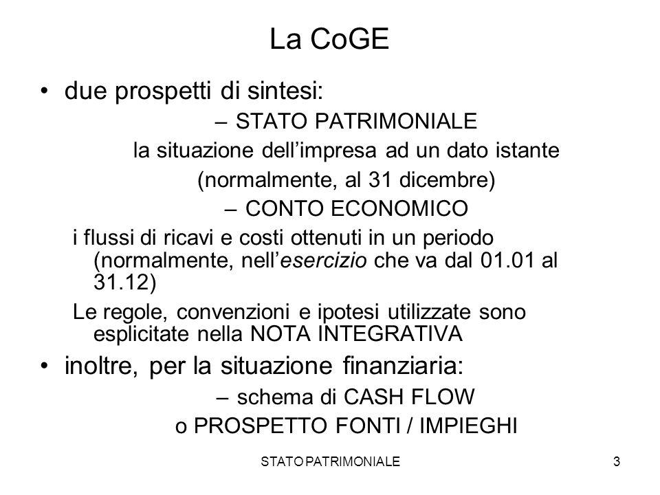 STATO PATRIMONIALE3 La CoGE due prospetti di sintesi: –STATO PATRIMONIALE la situazione dellimpresa ad un dato istante (normalmente, al 31 dicembre) –