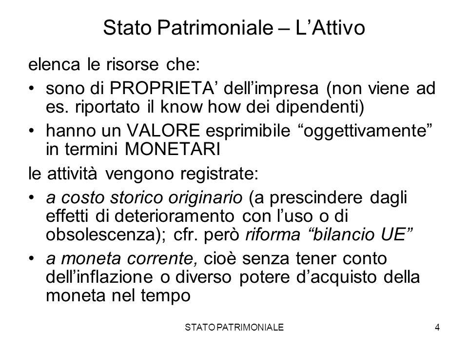STATO PATRIMONIALE4 Stato Patrimoniale – LAttivo elenca le risorse che: sono di PROPRIETA dellimpresa (non viene ad es. riportato il know how dei dipe