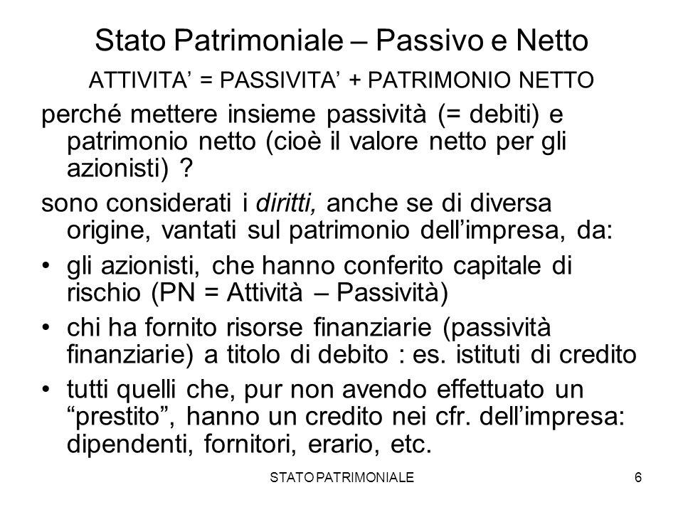 STATO PATRIMONIALE6 Stato Patrimoniale – Passivo e Netto ATTIVITA = PASSIVITA + PATRIMONIO NETTO perché mettere insieme passività (= debiti) e patrimo