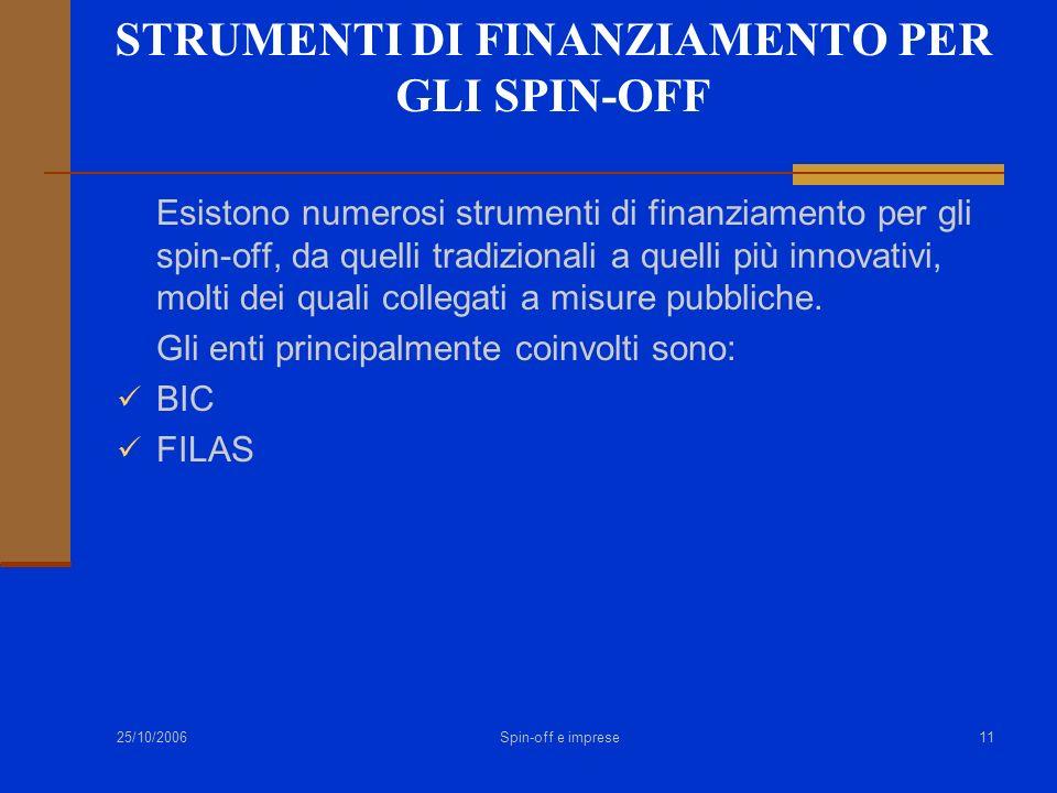 25/10/2006 Spin-off e imprese11 STRUMENTI DI FINANZIAMENTO PER GLI SPIN-OFF Esistono numerosi strumenti di finanziamento per gli spin-off, da quelli t