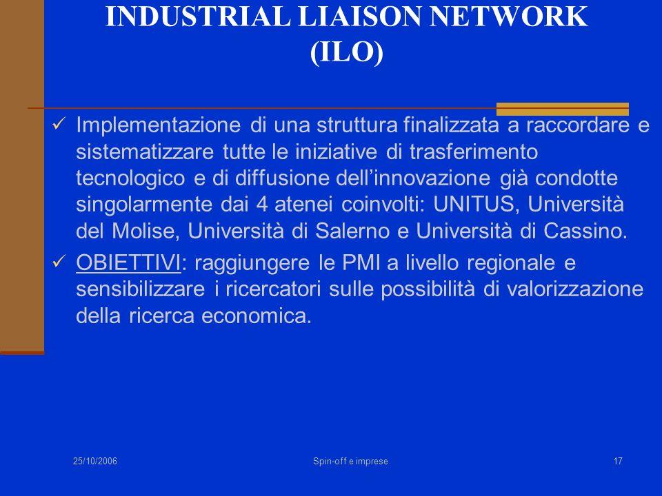 25/10/2006 Spin-off e imprese17 INDUSTRIAL LIAISON NETWORK (ILO) Implementazione di una struttura finalizzata a raccordare e sistematizzare tutte le i