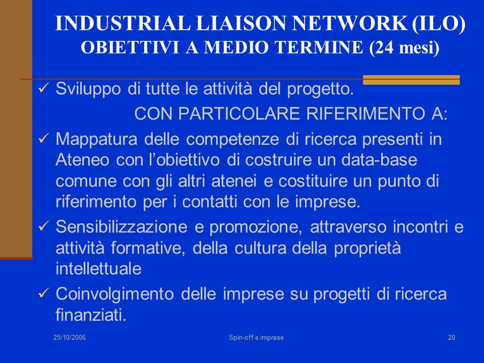 25/10/2006 Spin-off e imprese20 INDUSTRIAL LIAISON NETWORK (ILO) OBIETTIVI A MEDIO TERMINE (24 mesi) Sviluppo di tutte le attività del progetto. CON P