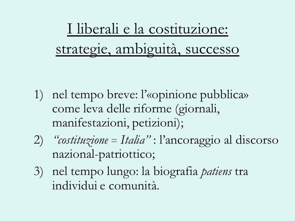 I liberali e la costituzione: strategie, ambiguità, successo 1) nel tempo breve: l«opinione pubblica» come leva delle riforme (giornali, manifestazion