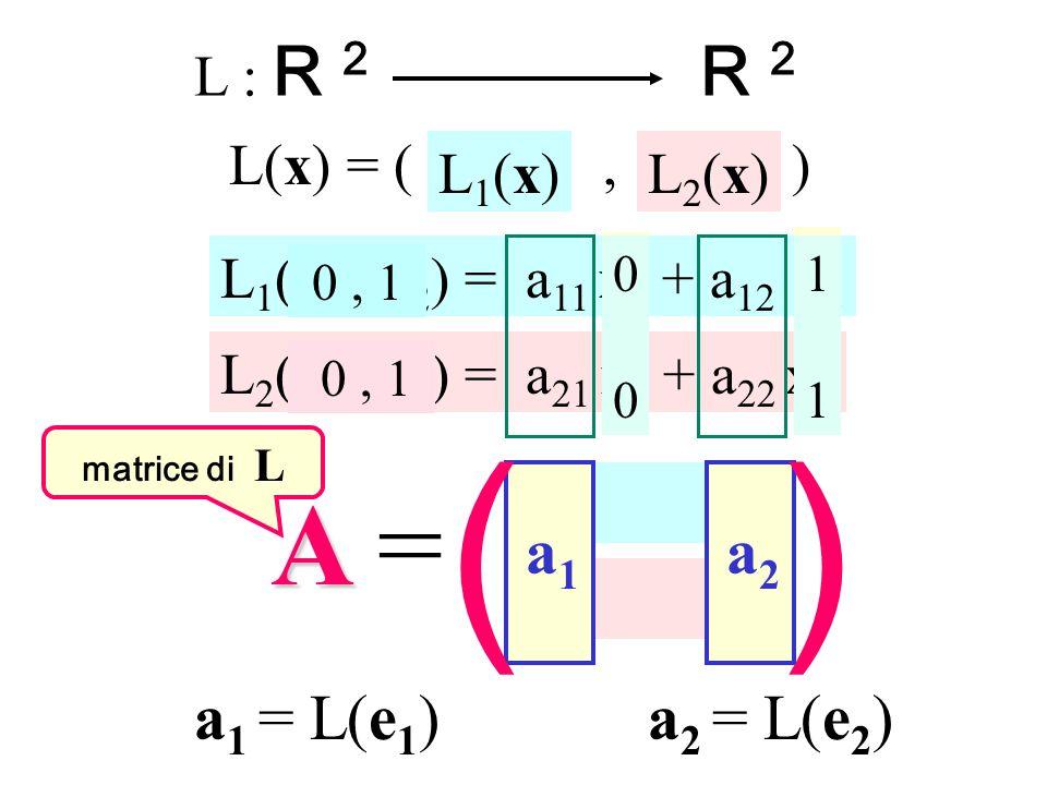 L : R 2 R 2 L(x) = (, ) L 1 (x 1, x 2 ) = a 11 x 1 + a 12 x 2 L 2 (x 1, x 2 ) = a 21 x 1 + a 22 x 2 L2(x)L2(x)L1(x)L1(x) a 11 a 12 a 21 a 22 AA =AA =