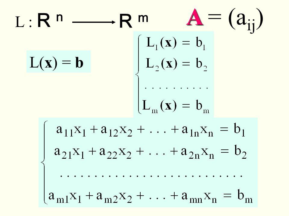 L : R n R m L(x) = b A A = (a ij )