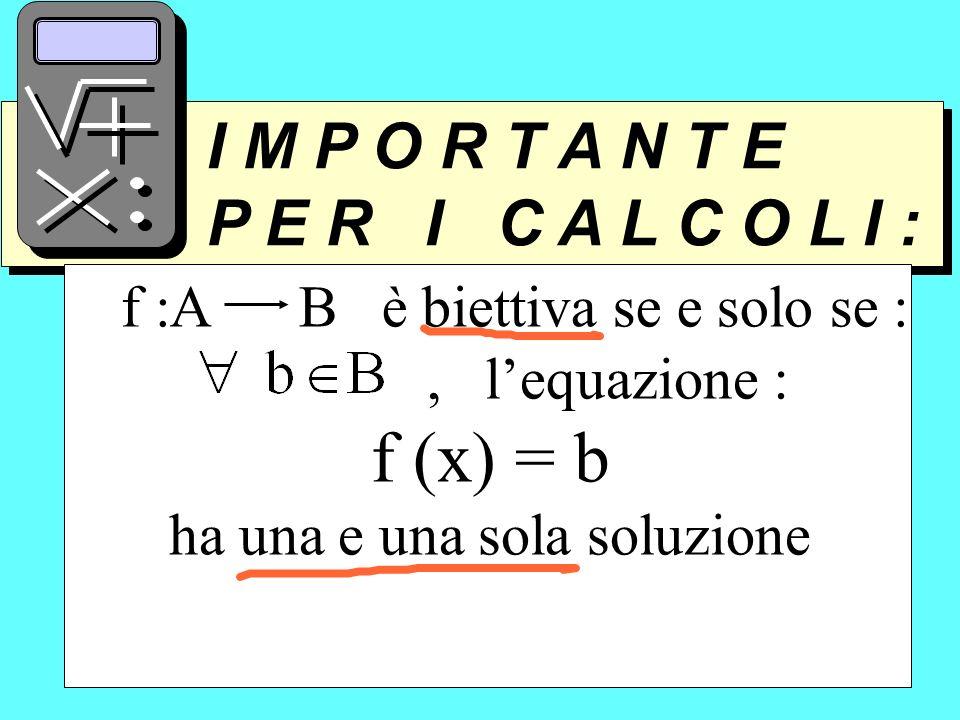 I M P O R T A N T E P E R I C A L C O L I : I M P O R T A N T E P E R I C A L C O L I : f :A B è biettiva se e solo se :, lequazione : f (x) = b ha un