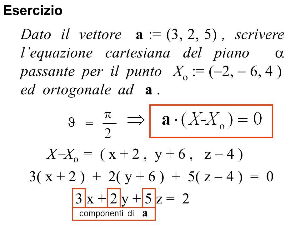 3( x + 2 ) + 2( y + 6 ) + 5( z 4 ) = 0 3 x + 2 y + 5 z = 2 Esercizio Dato il vettore a := (3, 2, 5), scrivere lequazione cartesiana del piano passante