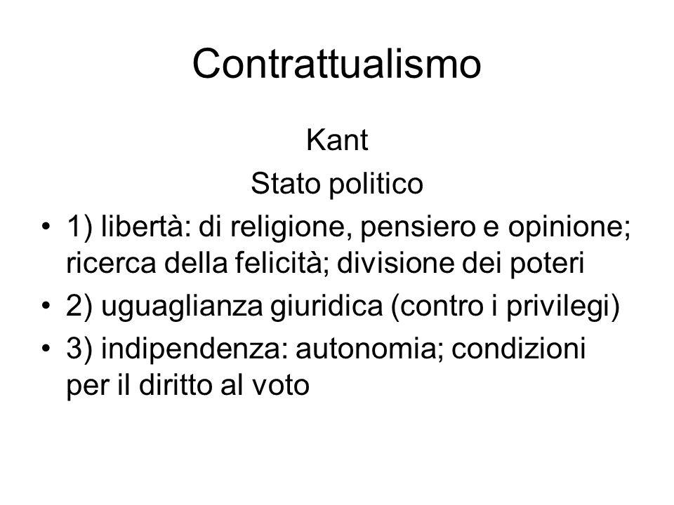Contrattualismo Eredità: liberalismo 1) libertà come assenza di coercizione 2) diritti inalienabili (libertà di religione, pensiero, opinione e proprietà) 3) uguaglianza giuridica 3) divisione dei poteri