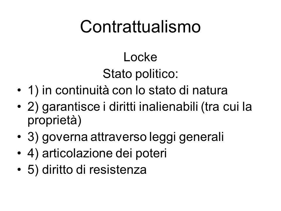 Contrattualismo Locke: che cosa rimane Diritti inalienabili Divisione dei poteri Proprietà: generata dal lavoro, teoria del valore-lavoro, possibilità dellaccumulazione attraverso il denaro
