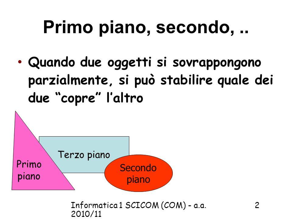Informatica 1 SCICOM (COM) - a.a. 2010/11 2 Primo piano, secondo,..