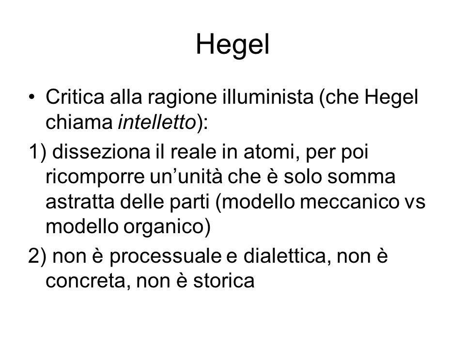 Hegel Critica alla ragione illuminista (che Hegel chiama intelletto): 1) disseziona il reale in atomi, per poi ricomporre ununità che è solo somma ast
