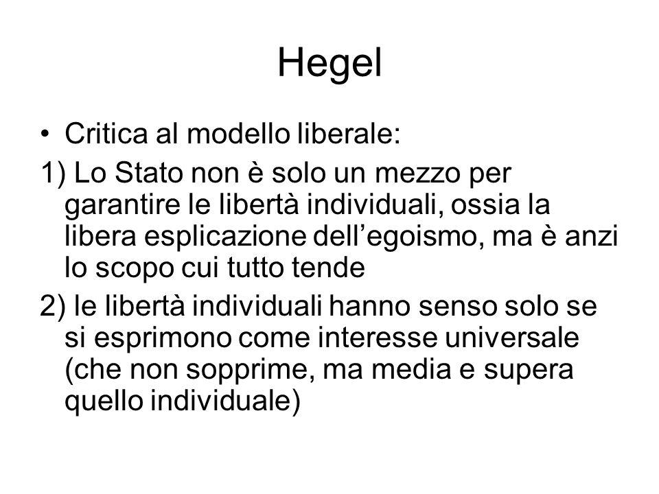 Hegel Critica al modello liberale: 1) Lo Stato non è solo un mezzo per garantire le libertà individuali, ossia la libera esplicazione dellegoismo, ma
