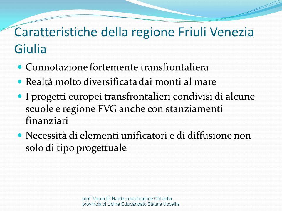 Caratteristiche della regione Friuli Venezia Giulia Connotazione fortemente transfrontaliera Realtà molto diversificata dai monti al mare I progetti europei transfrontalieri condivisi di alcune scuole e regione FVG anche con stanziamenti finanziari Necessità di elementi unificatori e di diffusione non solo di tipo progettuale prof.