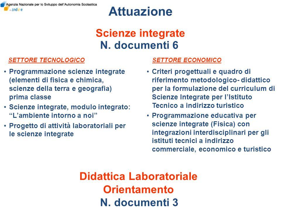 Attuazione Scienze integrate N. documenti 6 Programmazione scienze integrate (elementi di fisica e chimica, scienze della terra e geografia) prima cla