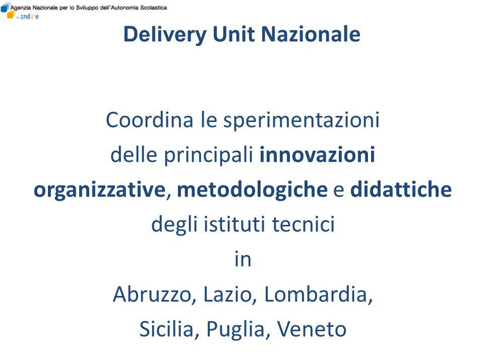 Delivery Unit Nazionale Coordina le sperimentazioni delle principali innovazioni organizzative, metodologiche e didattiche degli istituti tecnici in Abruzzo, Lazio, Lombardia, Sicilia, Puglia, Veneto