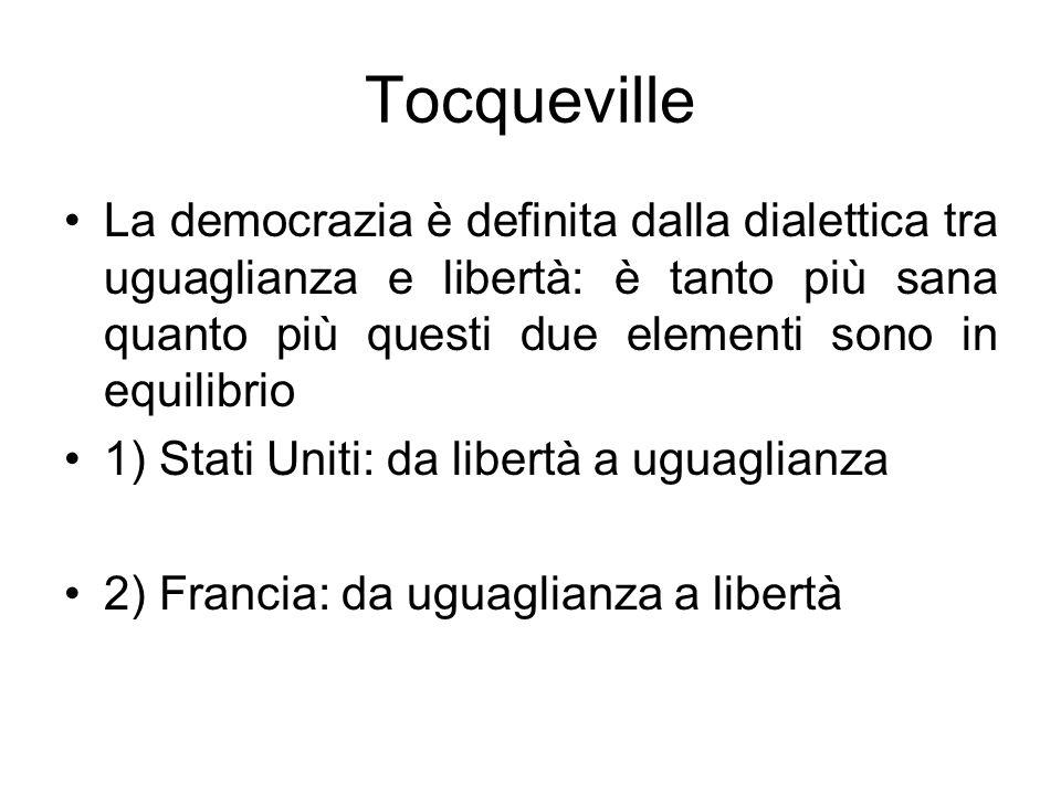 Tocqueville La democrazia è definita dalla dialettica tra uguaglianza e libertà: è tanto più sana quanto più questi due elementi sono in equilibrio 1)