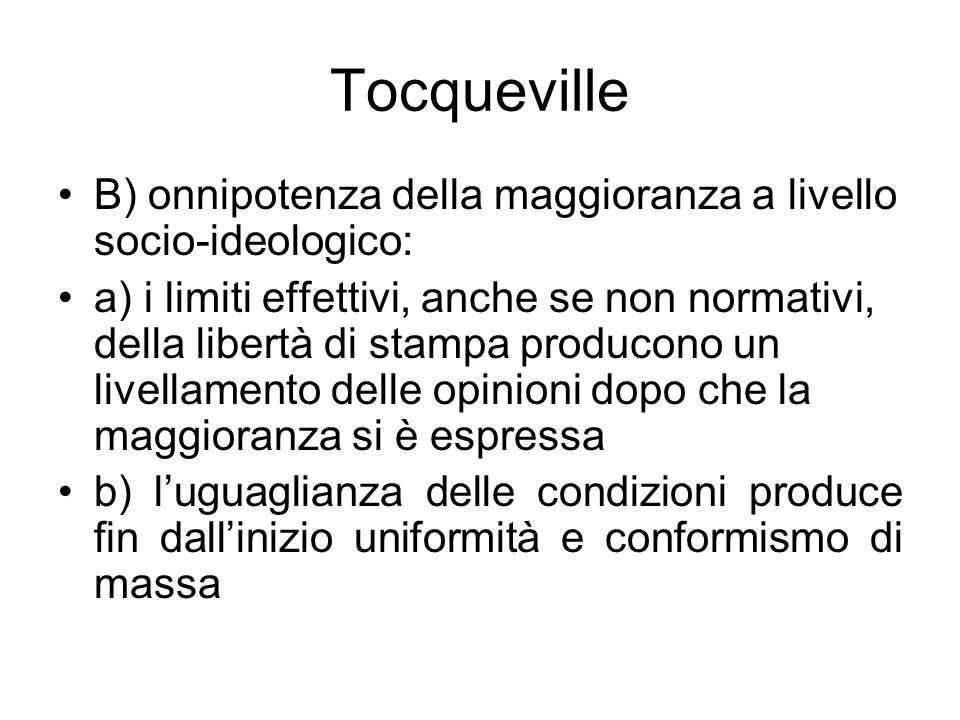 Tocqueville B) onnipotenza della maggioranza a livello socio-ideologico: a) i limiti effettivi, anche se non normativi, della libertà di stampa produc