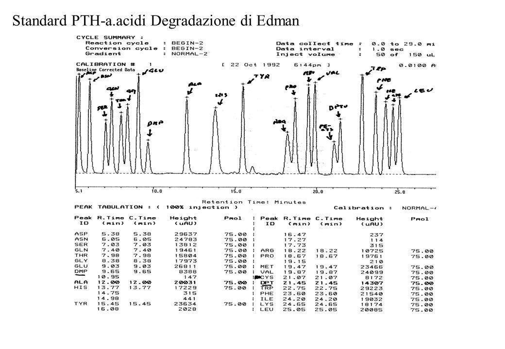 Standard PTH-a.acidi Degradazione di Edman
