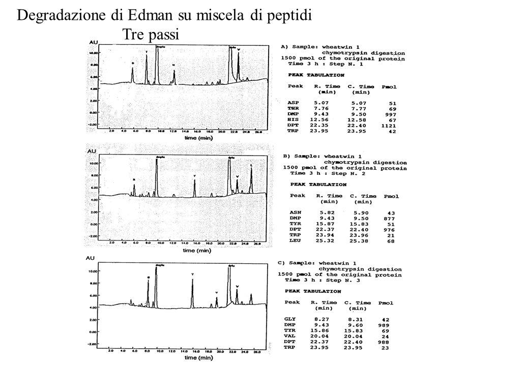Degradazione di Edman su miscela di peptidi Tre passi